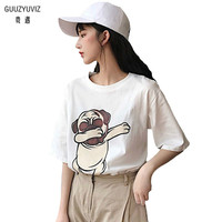 GUUZYUVIZ Funny T Shirt Summer Cute Print Loose Short Sleeves Crop Top Casual Sweet Ropa Verano