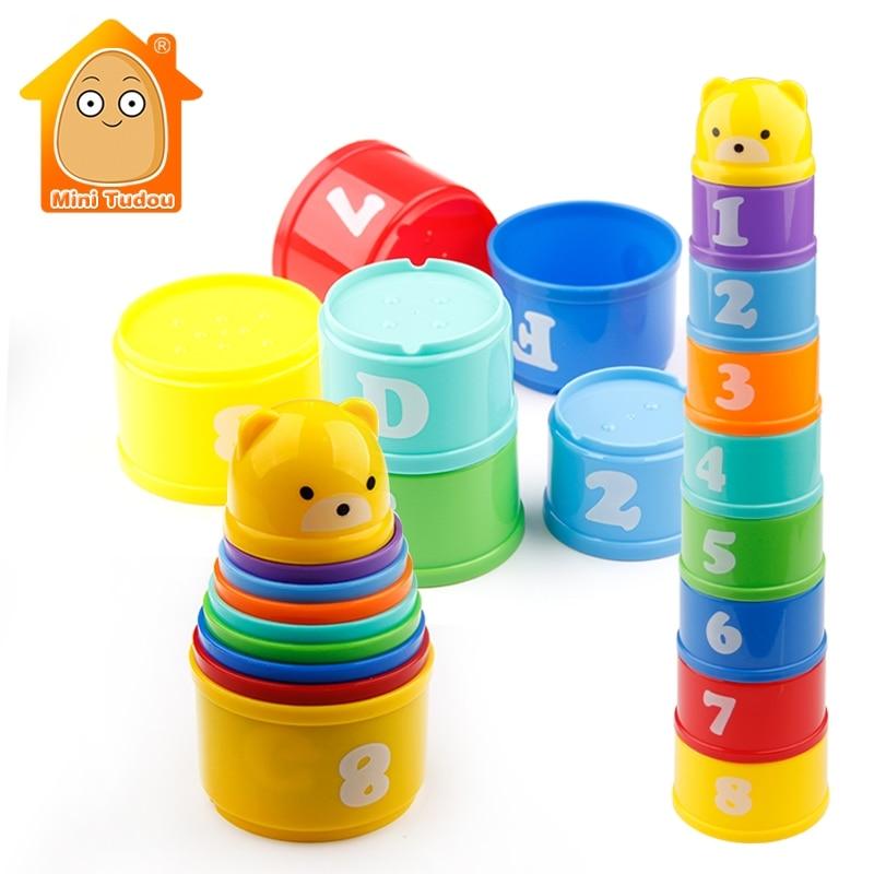 MiniTudou 8 PCS Pädagogisches Baby Spielzeug 6 Monat + Zahlen Letters Foldind Stapel Tasse Turm Kinder Frühen Intelligenz