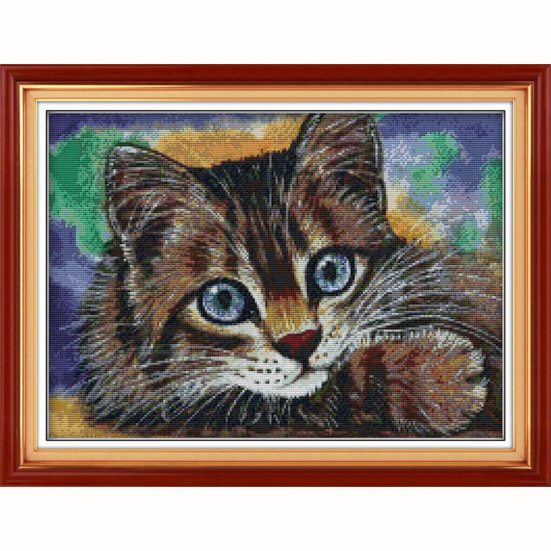 0b475c82c4731 Kot zwierząt bawełna wątki wybity cross stitch zestawy puste płótno łatwe  hafty szwy zestaw ręcznie rzemiosła sztuki dekoracji ściany
