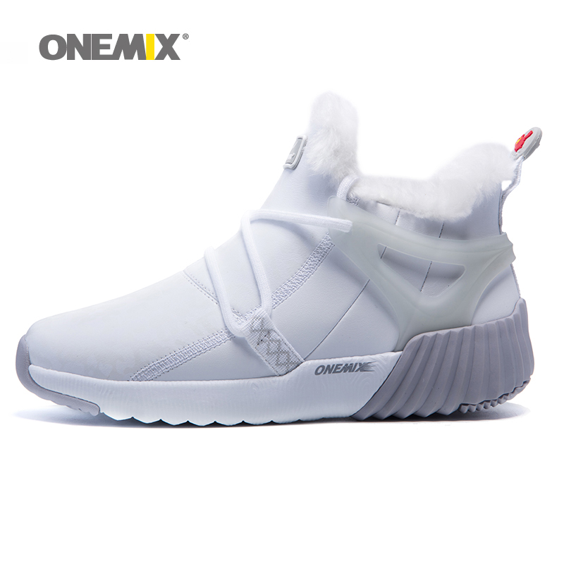 Onemix Women Winter Snow Boots Keep Warm Sneakers for men Boots White Men Running Shoes Walking