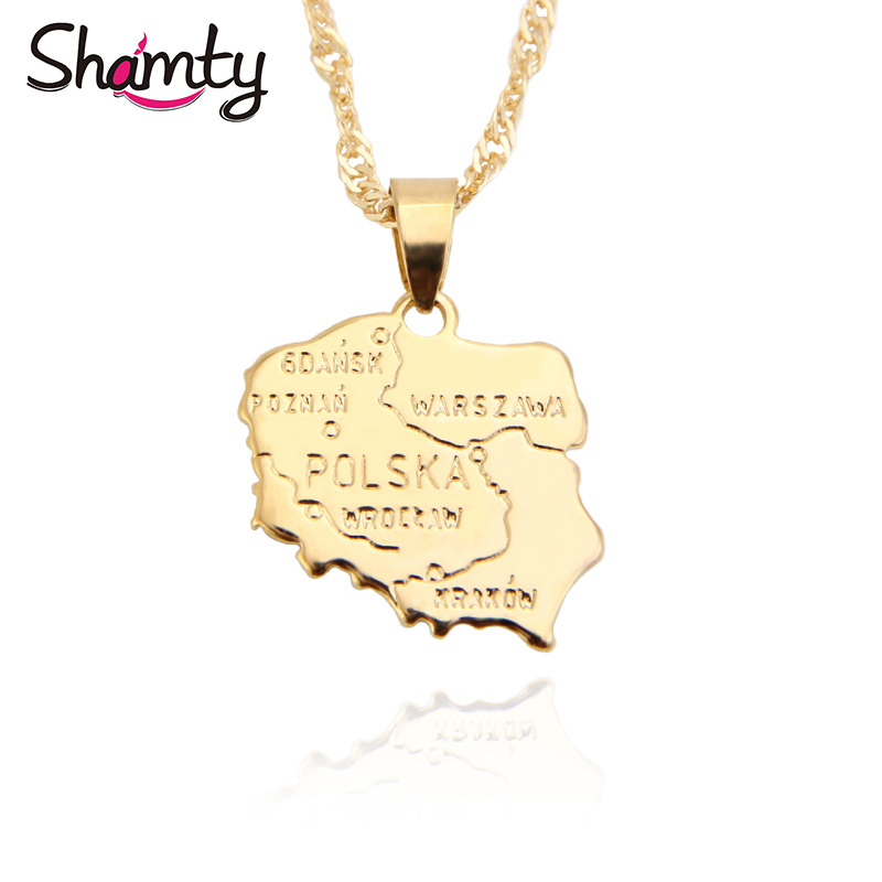 Shamty Symbol Patriotic Jewelry Poland Map Pendant Chain Pure Gold Color Personalized Poles Unisex Gift items Free shipping