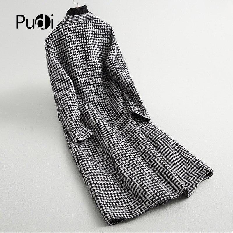 PUDI A37110 2018 النساء الخريف/الشتاء جديد أزياء الصوف منقوشة سترة سيدة طويل نمط الترفيه الصوف معطف-في صوف مختلط من ملابس نسائية على  مجموعة 2