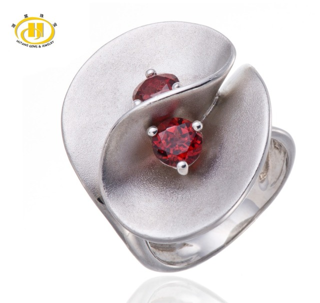 Hutang Natural Garnet Gemstone Sólido 925 Sterling Silver Floral Anel Fine Jewelry Bithday Presente Projeto Original