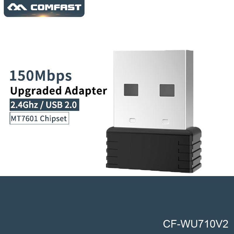 Mini 150Mbps 2.4G USB Wifi Adapter Wifi dongle Wi fi Receiver USB Ethernet Network Card for PC Laptop Comfast CF WU710V2-in Network Cards from Computer & Office