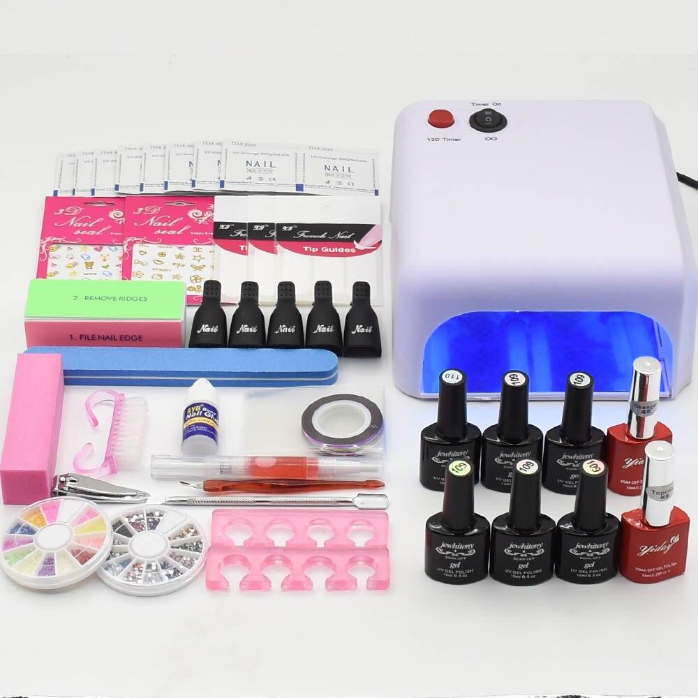 Nail Art Manucure Outils UV led Lampe séchoir à ongles 6 Couleur 10 ml base top coat tremper hors Gel vernis vernis à ongles nail set kits