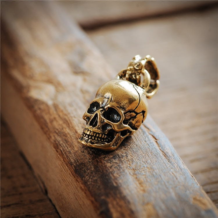 2018 Pure Brass Customized Keychain DIY Skull Key Ring New Design Brass Pendant with Good Quality