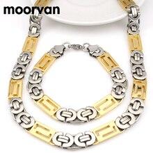 Moorvan Fresco, hombres Pulsera y Collar (21 cm + 56 cm) Joyería Bizantina de Acero Inoxidable Set Excelente Calidad de la cadena del Regalo Hombre VJS019