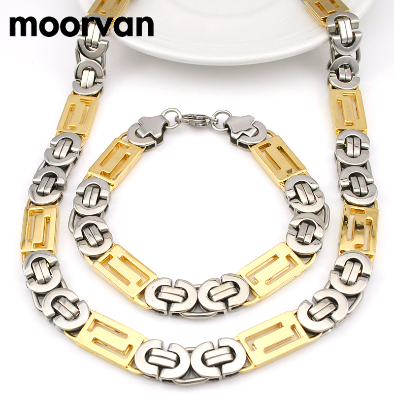 Moorvan Cool,Men's Bracelet & Necklace (21cm+56cm) Stainless Steel Byzantine Jewelry Set Chain Excellent Quality,Man Gift VJS019
