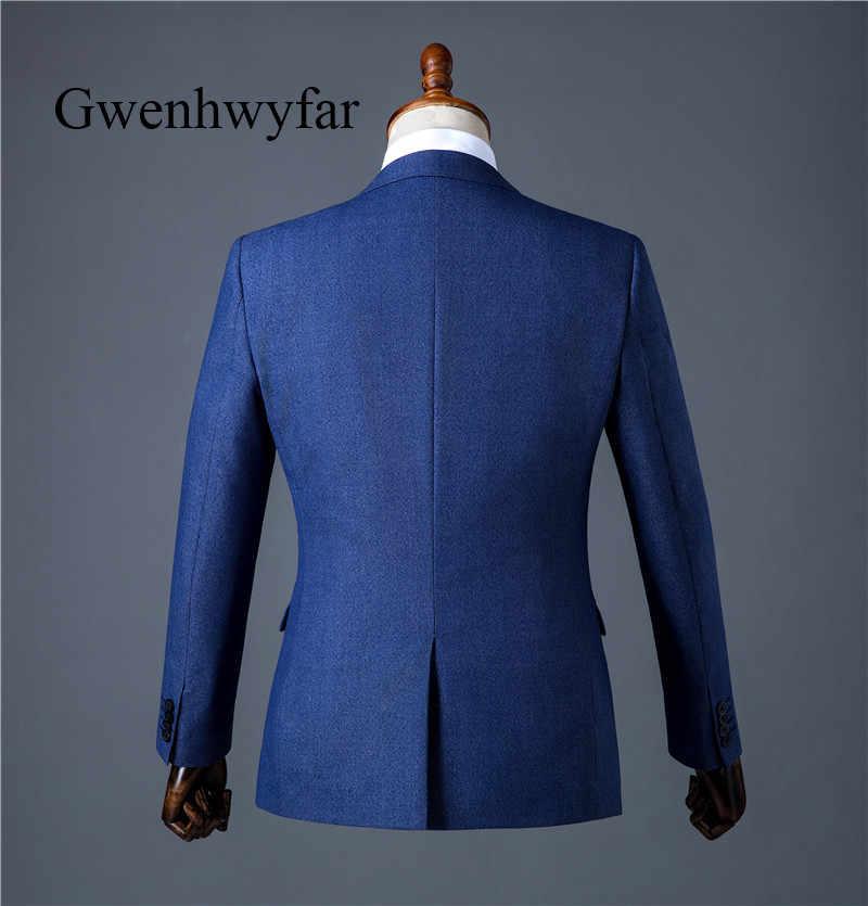 Gwenhwyfar高品質男性スーツ2018新しいファッション若い男性スーツダークブルー紳士ウェディングタキシードブレザー+チョッキ+パンツ