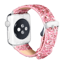 PU Leather Strap for Apple watch band 42mm 38mm Bling Replacement band Wristwatch Bracelet for iwatch 4 3 2 1