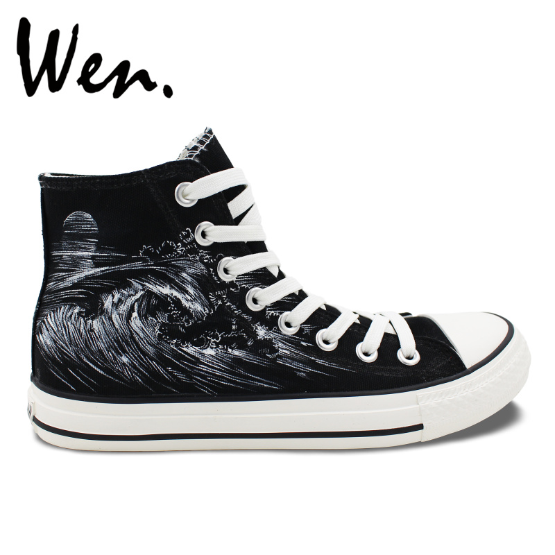 Wen Original Design Station Wagon Holiday Seaside Surfing Canvas High Top Hand Painted Shoes Adults Unisex Black Sneakers wen original hand painted canvas shoes space galaxy tardis doctor who man woman s high top canvas sneakers girls boys gifts