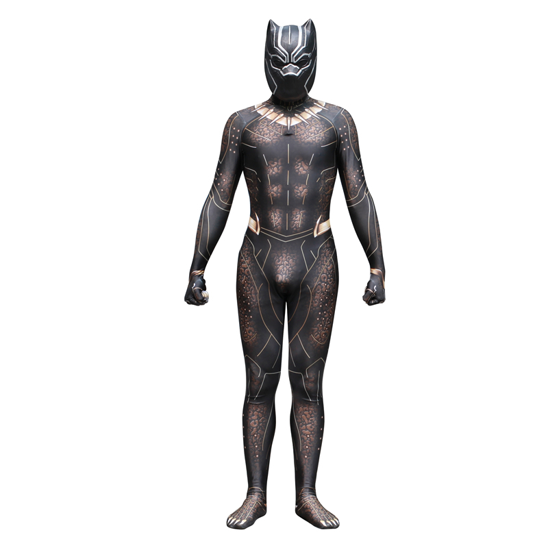 Black Panther Erik killmonger Cosplay Costume Fancy Zentai Jumpsuits With Mask Adult For Halloween Streetwear