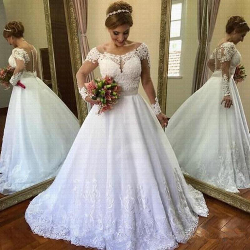 Vestido De Noiva Elegant Lace Wedding Dress 2019 Modern Long Sleeves Bridal Gown Robe De Mariage