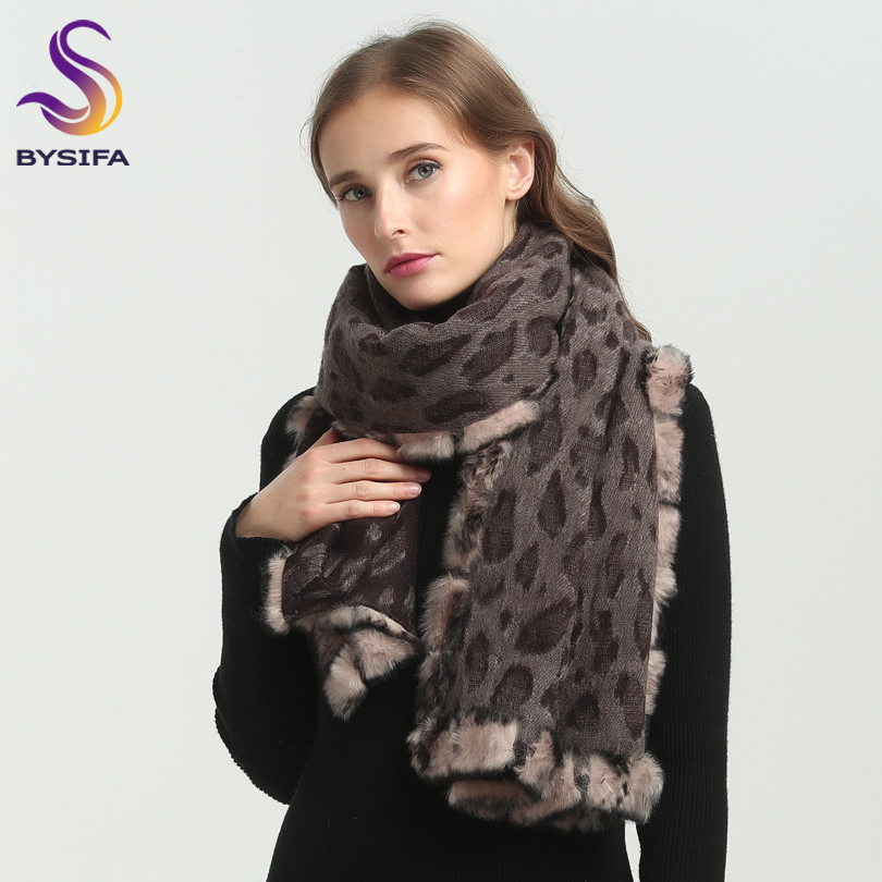 [BYSIFA] Winter Coffee Pashmina Scarves New Luxury Brand Leopard Print 100% Real Rabbit Hair Wool Long Scarves Shawl 180*70cm