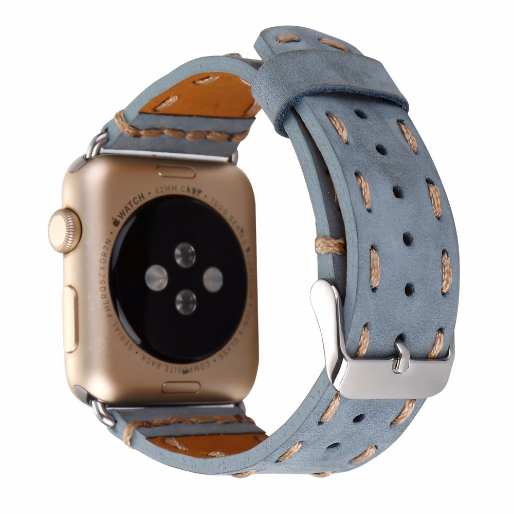 Vintage Genuine Leather Handmade Watch Band for Apple Watch Series 1 2 Black Brown Blue for