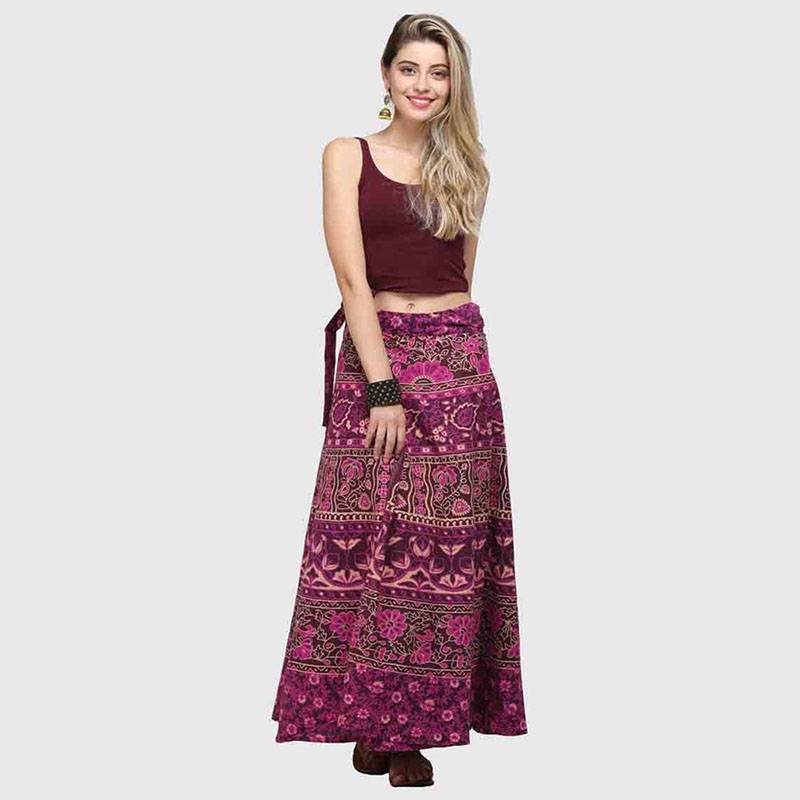 Boho Wrap Around Floral Print  Maxi Skirt Women Elegant Indian Tribal Style Bohemian Long Hippy Beach Skirt Belted For Ladies