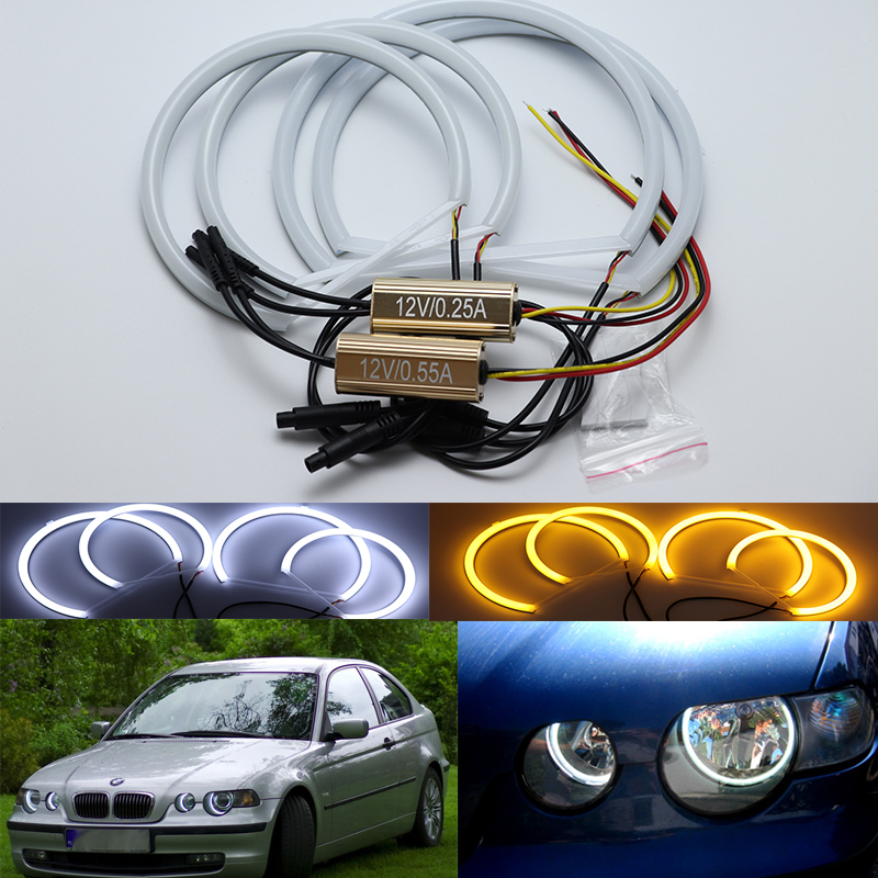 For 2001 2005 BMW 3 Series E46 Compact White Amber Dual color Cotton LED Angel eyes