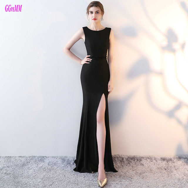 cc3498ed2e6f7 Glamorous Black Mermaid Formal Dresses Long 2018 New Sexy Elastic Satin Evening  Dress Scoop Custom Made Lady Evening Party Gowns