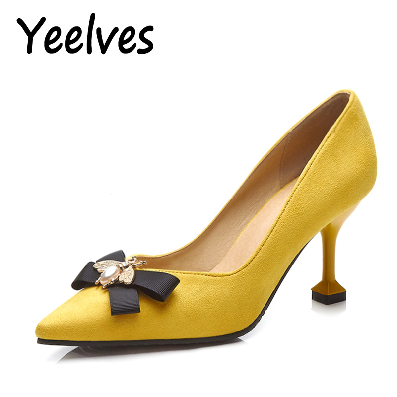 Yeelves New Women Fashion Thin High Heels Pumps Yellow or Black Heels Court shoes Pumps for Ladies Girl Party Plus Size Bowtie yeelves new women fashion thin high heels pumps yellow or black heels court shoes pumps for ladies girl party plus size bowtie