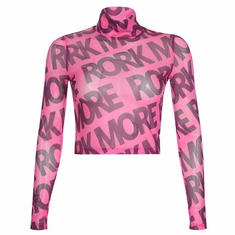 جديد التي شيرت المرأة مثير رسائل مطبوعة شاشة الغزل جوفاء قصيرة منظور تي شيرت المتناثرة Camiseta موهير أعلى إمرأة T قميص