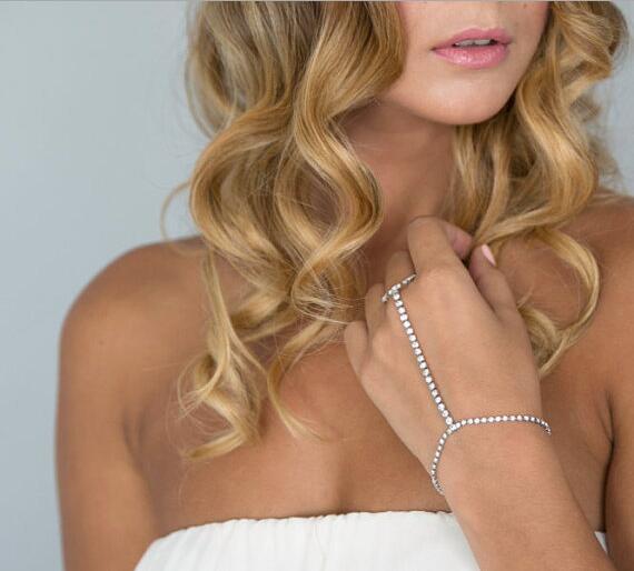 Luxury Rhinestone Bracelet Crystal Pave Link Chain Slave Bracelet Hand Finger Tennis Bracelets Women Bridal Wedding Braclets ...