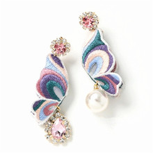 XIAO YOUNG Embroidery Butterfly Rhinestone Long Earrings For Women Statement Ab Design Simulated Pearl Fashion Jewelry Gifts