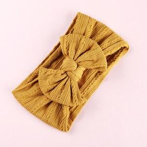 Image 5 - 100 pcs/lot, Großhandel Kabel Stricken Nylon Bogen Headwraps, Klassische Knoten breite nylon stirnbänder, kinder Mädchen Haar Zubehör