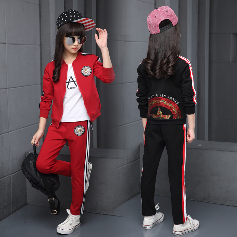 Children Clothing Sets Cotton Autumn Red Sports Suits For 5 6 7 8 9 10 11 12 Years Old Girls Sportswear Casual Dark TracksuitsChildren Clothing Sets Cotton Autumn Red Sports Suits For 5 6 7 8 9 10 11 12 Years Old Girls Sportswear Casual Dark Tracksuits
