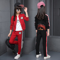 Children Clothing Sets Cotton Autumn Red Sports Suits For 5 6 7 8 9 10 11 12 Years Old Girls Sportswear Casual Dark Tracksuits