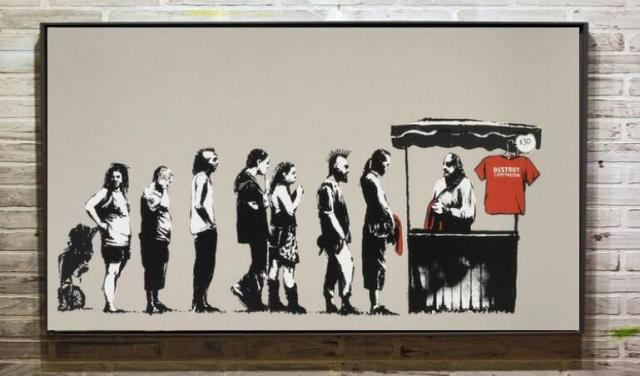 kostenloser versand banksy kunstwerke wandtattoo handgemalt auf leinwand vinyl stra enkunst. Black Bedroom Furniture Sets. Home Design Ideas