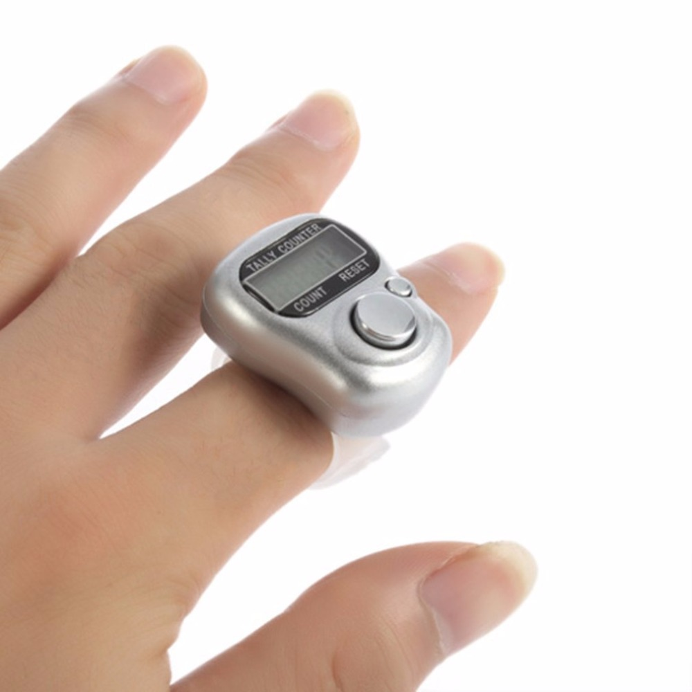 Mini 1pcs 5 Digital display Hand LCD Electronic screen Held Tally Counter Finger Ring Handheld Clicker People Counter Meter