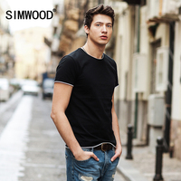 SIMWOOD 2017 T Shirts Men New Summer Spring O Neck Curl Hem Shorts Sleeve 100 Pure