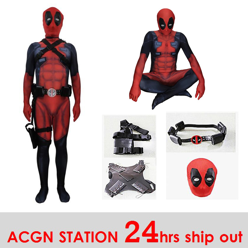 Women's Costumes Costumes & Accessories Ainiel Deadpool Cosplay Costume Halloween Party Carnival Bodysuit Lycra Spandex Zentai Jumpsuit Suit And Belt Strap Consumers First