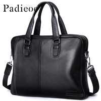 Padieoe Luxury Genuine Leather Mens Messenger Bag Fashion Business Men Shoulder Bag High Quality Durable Casual