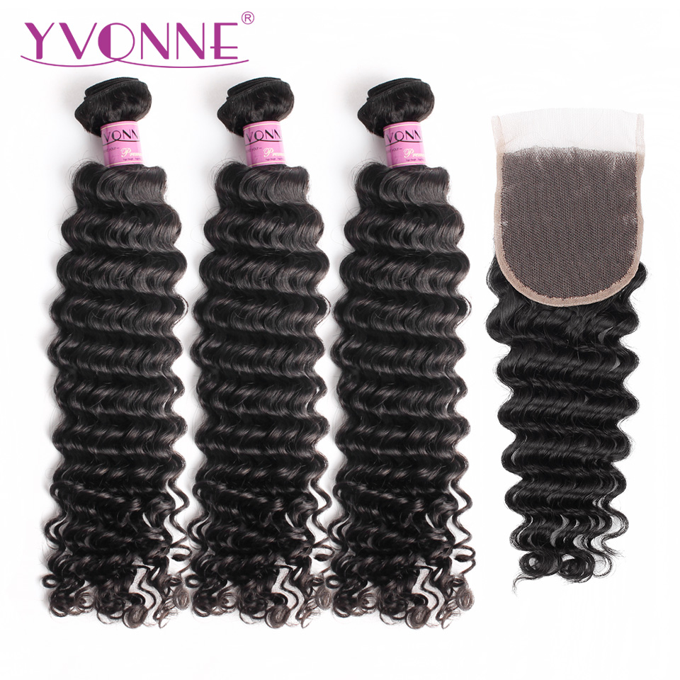 Yvonne бразильские глубокая волна пучки с закрытием Девы человеческих волос Ткань 3 Связки с закрытием 4x4 естественный Цвет