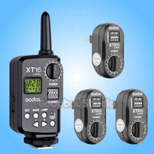 Godox XT-16 XT16 2.4G Wireless Remote Control Strobe Flash Trigger + 3X Receiver viltrox fc 16 off camera flash trigger w light control trigger black