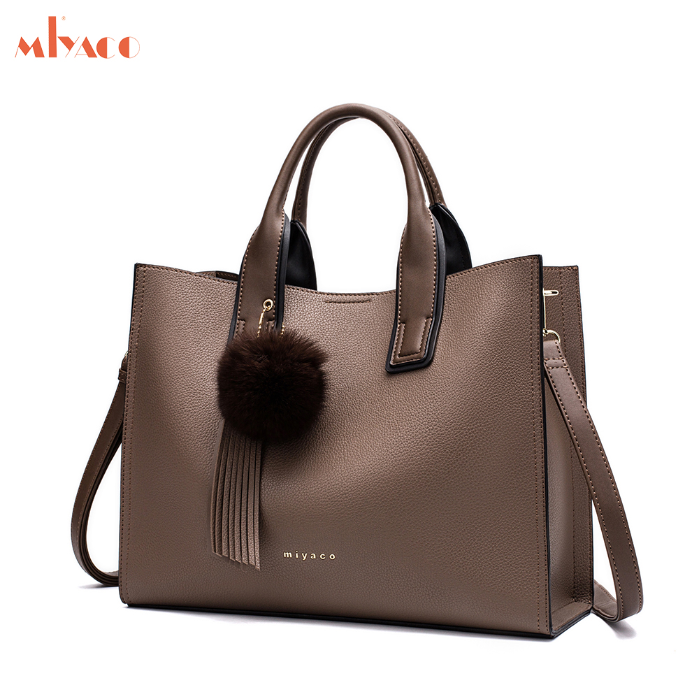 Miyaco Women Leather Handbags Casual Brown Tote bags Crossbody Bag TOP-handle bag With Tassel and fluffy ball цены онлайн