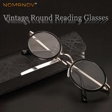 Nomanov = redondo vintage retro multi-revestido lente aro completo liga de luxo masculino feminino óculos de leitura + 0.75 + 1 + 1.25 + 1.5 + 1.75 + 2to + 4