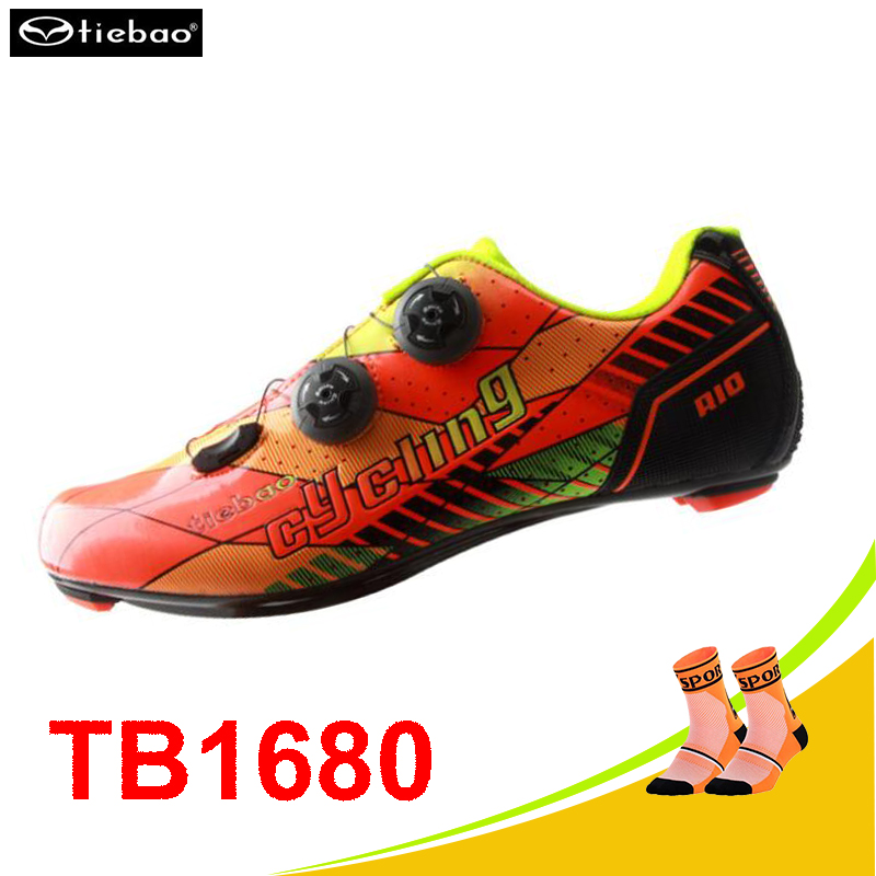 Tiebao cycling sneakers Carbon fibre zapatillas ciclismo superestrella deportivas cycling shoes road sapatilha athletic shoes tiebao tiebao b1285 recreational cycling shoes black green size 42