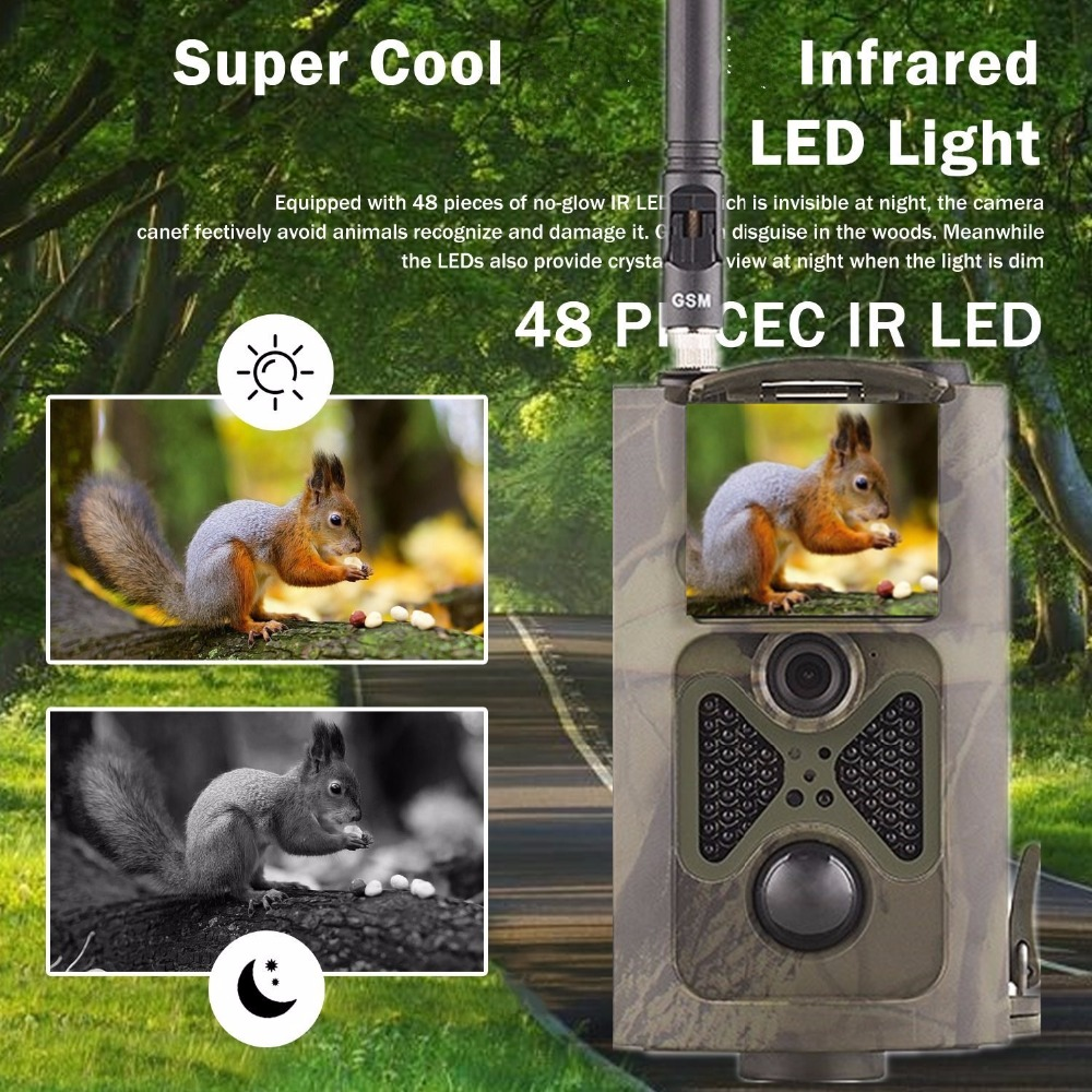12MP Trail Camera GSM MMS GPRS SMS Control Scouting Infrared Wildlife Hunting Camera HC500M hc500m hd gsm mms gprs sms control scouting infrared trail hunting camera with 48pcs ir leds night vision wildlife surveillance