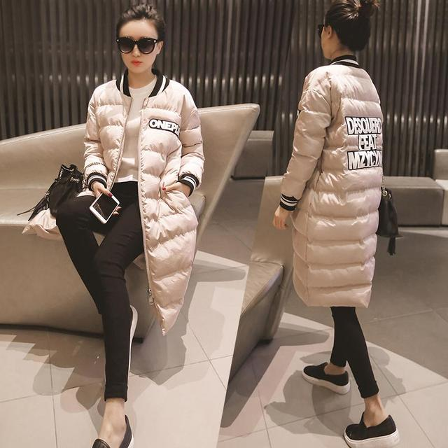 Poner la ropa nueva largo delgado femenino de Corea carta uniforme de béisbol delgada gruesa chaqueta de abrigo