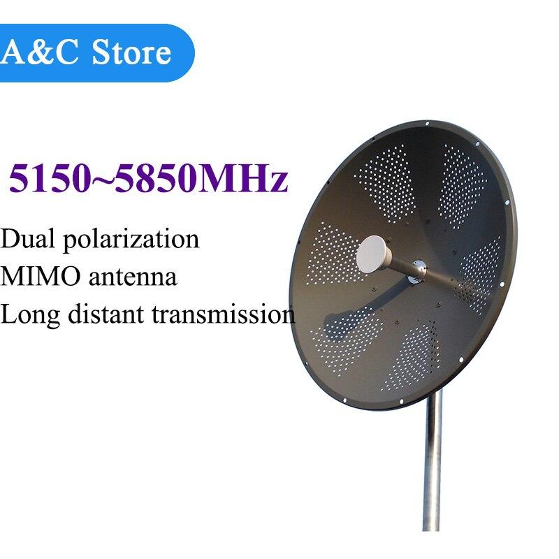 5g ~ 5.8g Mimo Antenne Parabolique double polarisation 29dBi à gain élevé 5150 ~ 5850 MHz à distance de transmission de signal adapté aux besoins du client