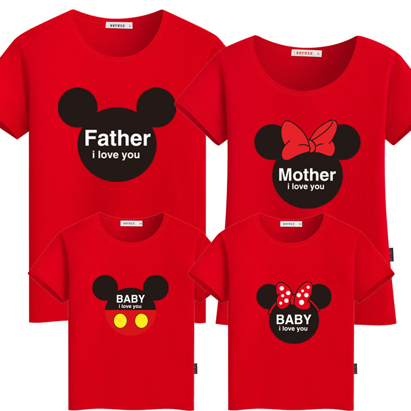 ②Mommy and Me Clothes Family Look Mickey Bow Minnie Printed ...
