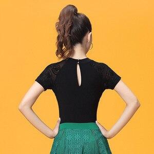 Image 5 - Short Sleeve O neck Cutout Modern Sexy Latin dance clothes top for women/female,Ballroom tango Costume performance wears YT0501