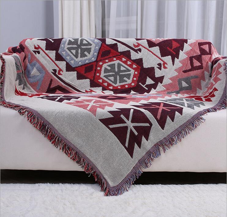 Kilim rouge canapé serviette couverture Double face différentes couleurs glands tapis pour canapé salon chambre tapis doux tapis couvre-lit