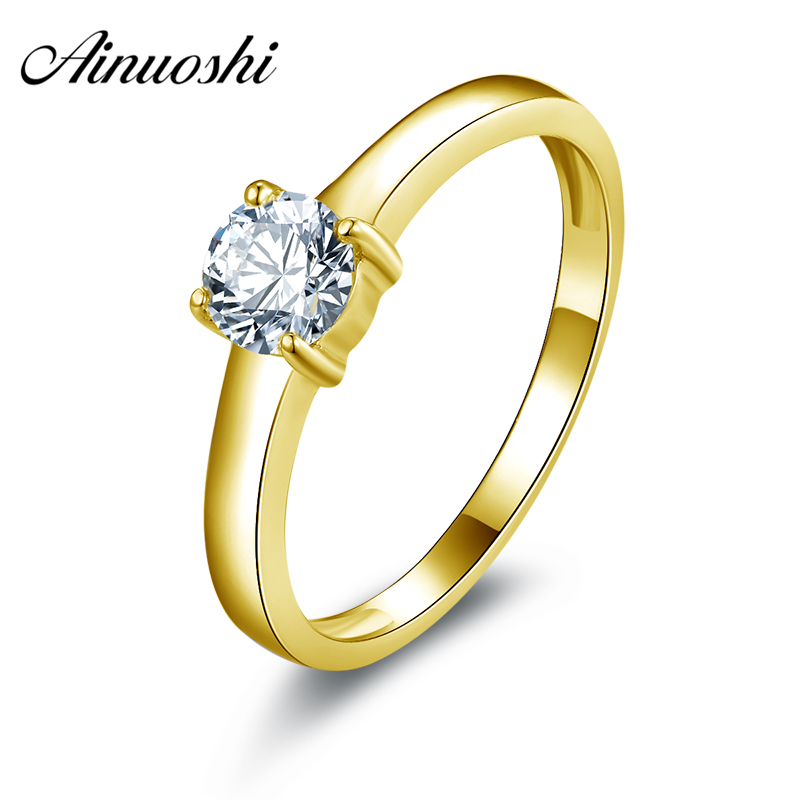 AINUOSHI 10k Solid Yellow Gold Women Engagement Rings Lovers Proposal Joyeria Fina Solitaire SONA Simulated Diamond Wedding Ring ainuoshi 10k solid yellow gold wedding ring 1 25 ct solitaire simulated diamond anelli donna brilliant proposal rings for women
