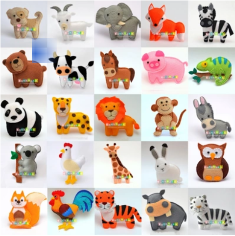 DIY Large Animal World Forest Zoo Dolls  Fabric Felt Kit Non-woven Cloth Craft DIY Sewing Set Handwork Material DIY Needlework S