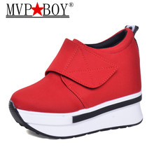MVP BOY Wedges Women Boots 2018 New Platform Shoes Woman Creepers Slip On Ankle Fashion Casual