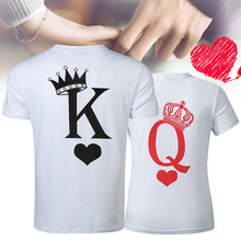 King Queen Funny T Shirt Women Printing Couple for Lovers Men Tops Clothes Summer Tees Female