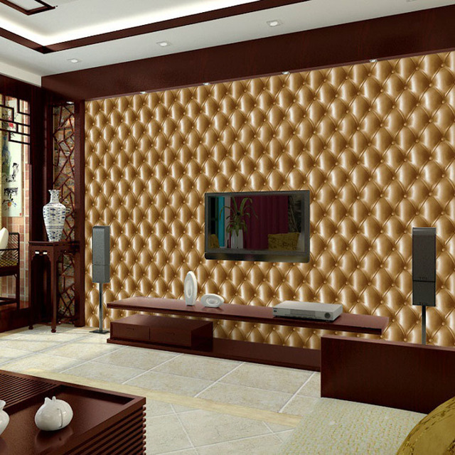 3D Effect Print Faux Leather Wallpaper Modern Gold Beige